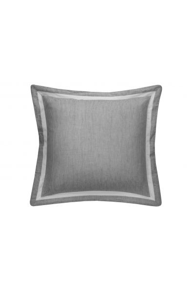 Linen Stripe Feather Filled Cushion In Grey White