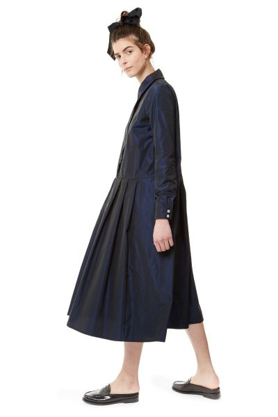 68807990ef5 Moses Pleated Skirt Shirt Dress in Midnight