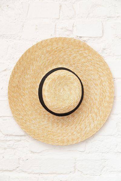 8b24442e7 Straw Hat with Black Trim