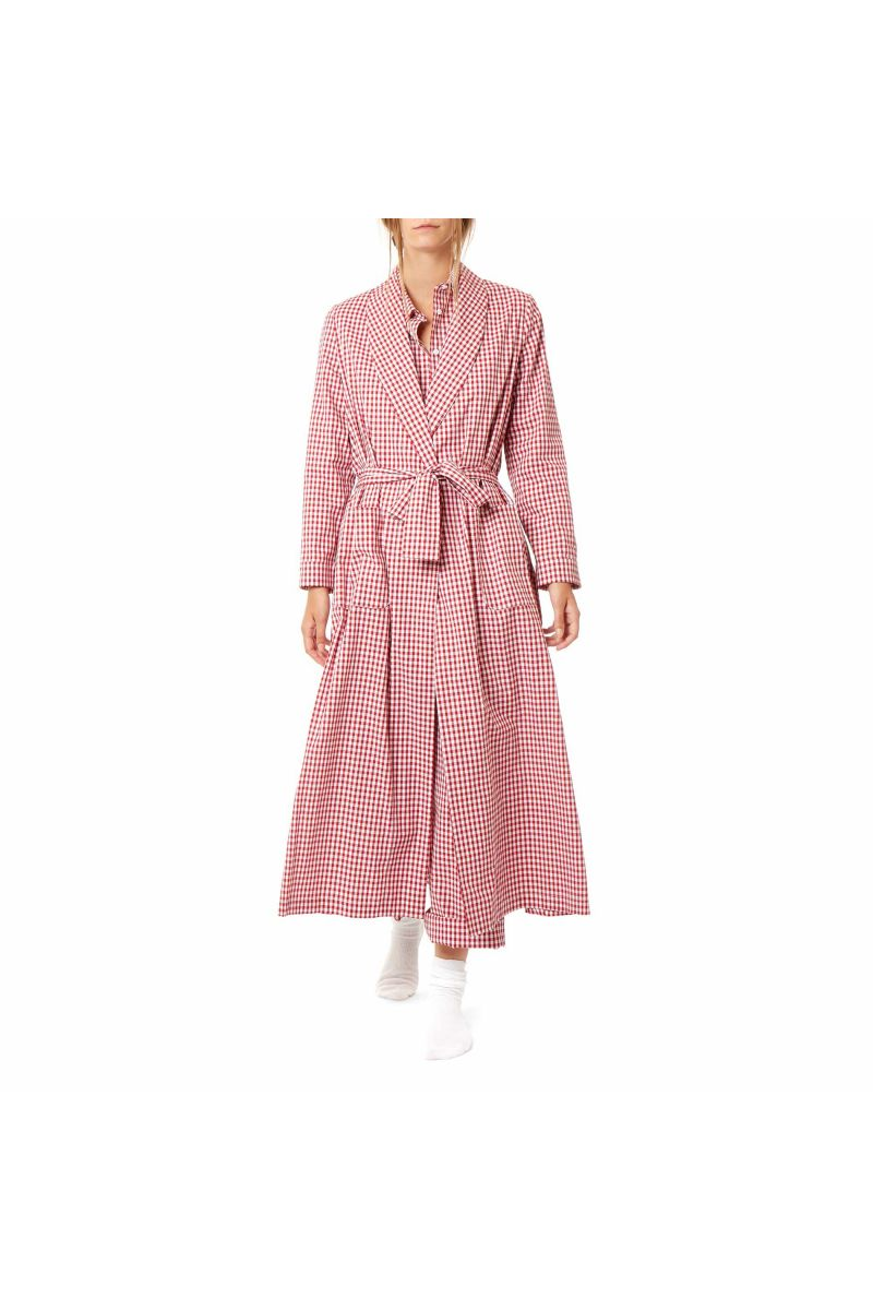 Simple Cotton Dressing Gown in Red Gingham   Cabbages & Roses
