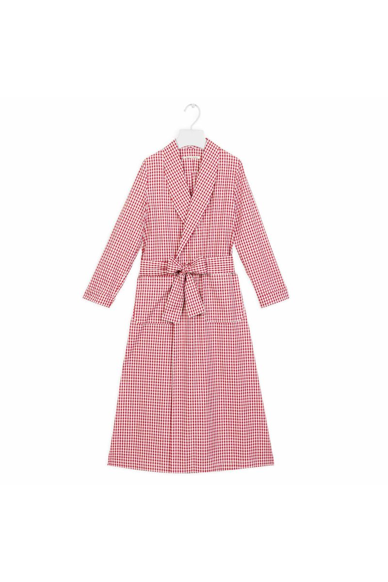 Simple Cotton Dressing Gown in Red Gingham | Cabbages & Roses